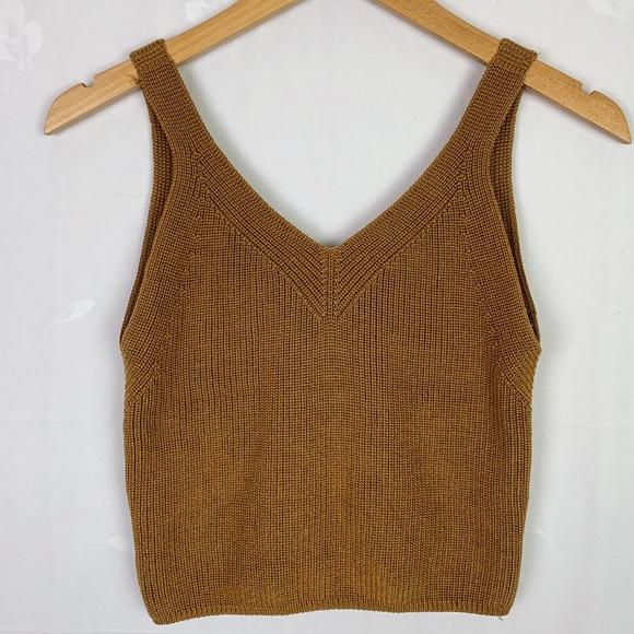 Camel Tone Cropped Knit Tank Top | Festival Wear